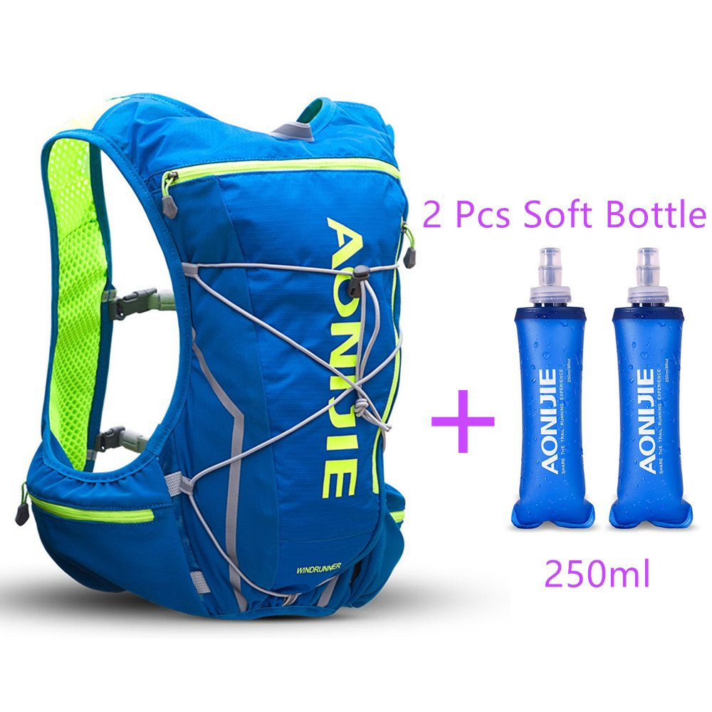 AONIJIE Trail Marathon Running Vest Pack 10L Sport Bag Hiking Camping Hydration Backpack Water Bottle Holder+Water Bottle(Optional),M/L,Blue with 2 Soft Water Bottles
