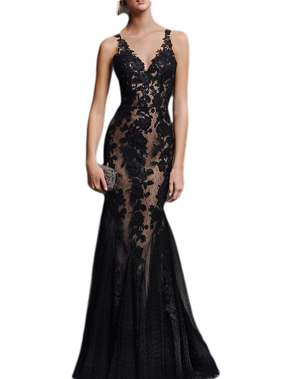 2016 V-neck Long Backless Evening Gown Sexy Lace Mermaid Prom Dress Trumpet  Wedding Party Dress Fabric  Satin   Lace. Backless with Zipper Closure 05510c9a6761