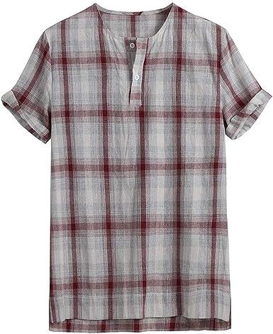 HCFKJ Camisas de Hombre BotóN Casual De La Moda De Hawaiano ImpresióN De La Tela Escocesa De La Playa: Amazon.es: Ropa y accesorios