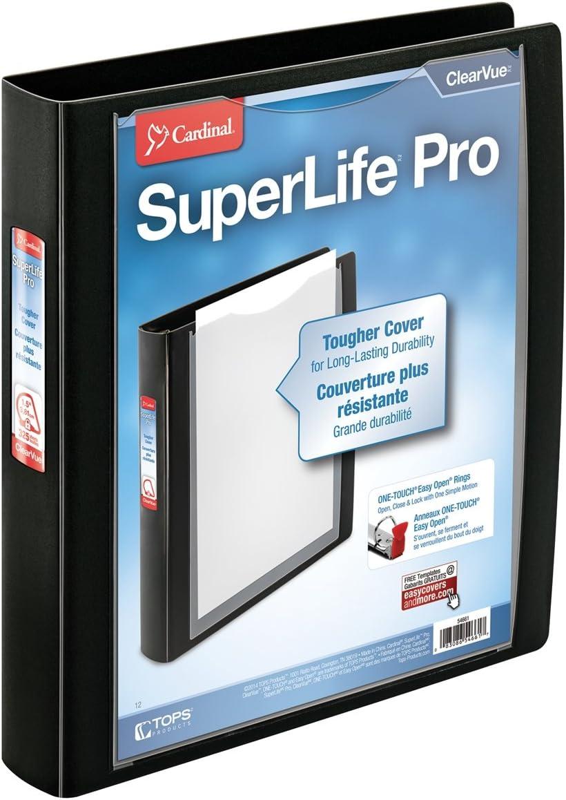 Cardinal SuperLife Pro Easy Open Slant-D Binder, Black, 11