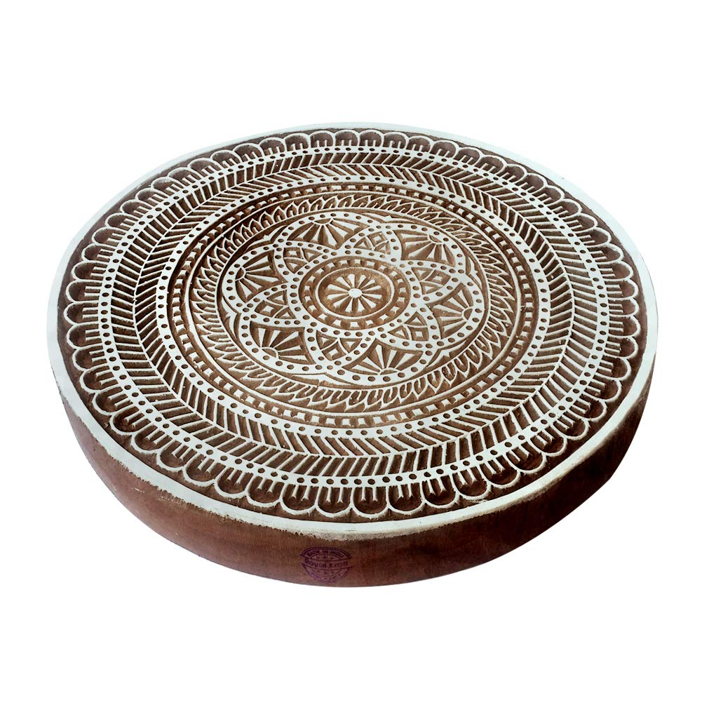 8 Inch Ethnic Large Printing Stamp Round Flower Design Big Wood Block