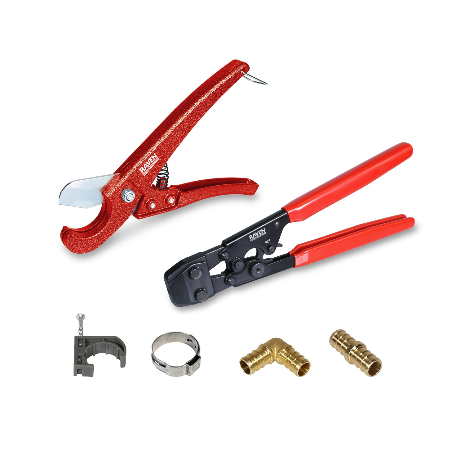 Pexflow PXKT1234 Pex Starter Kit - Crimper & Cutter Tool, Lead Free Brass Barbed 1/2-In + 3/4-In Elbow & Coupling Fitting Stainless Steel 1/2-In + 3/4-In Cinch Clamp,1/2-In + 3/4-In Half Clamp w/ Nail
