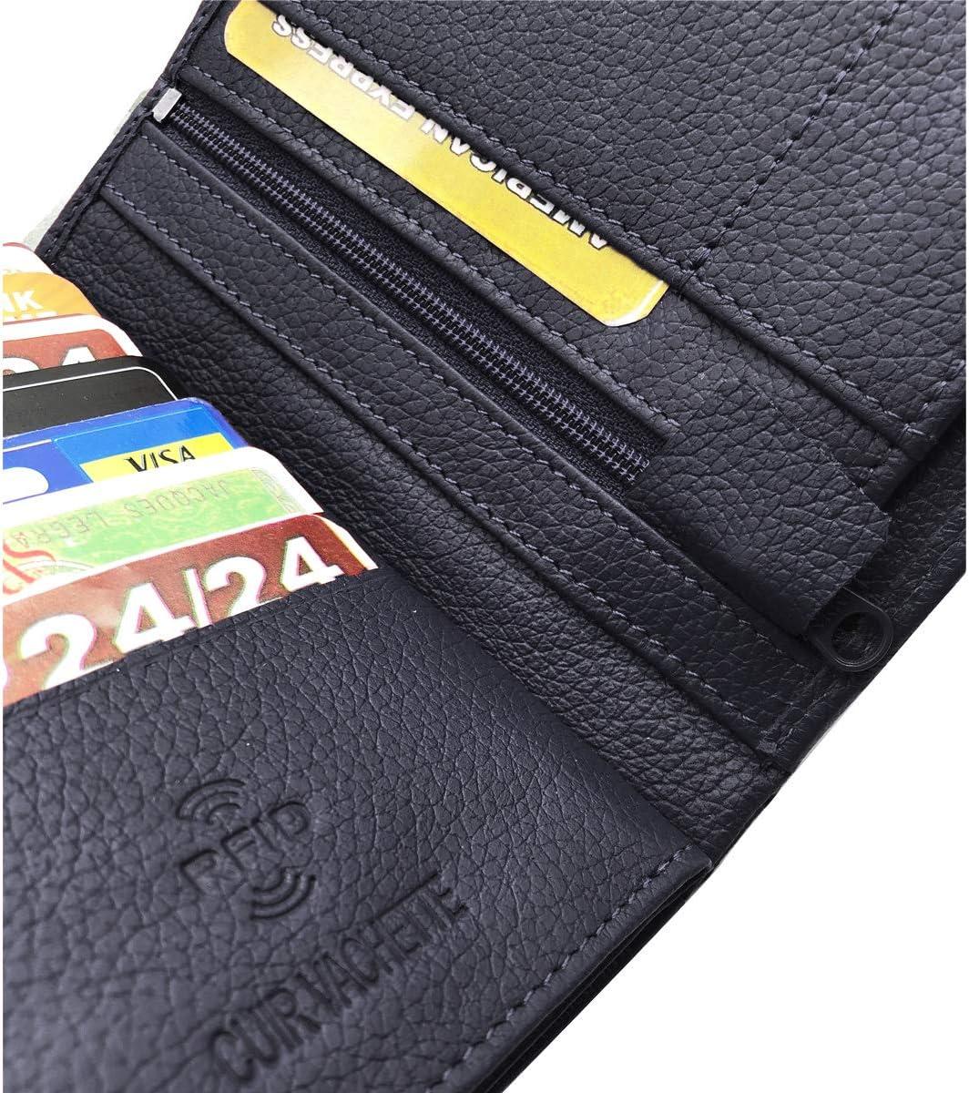 Rangement compl/èt Max Bleu Cuir Vachette 22 Carte Bleu Charmoni 4 Volets Portefeuille Homme Grand Portefeuille Anti piratage Protection RFID Blocage