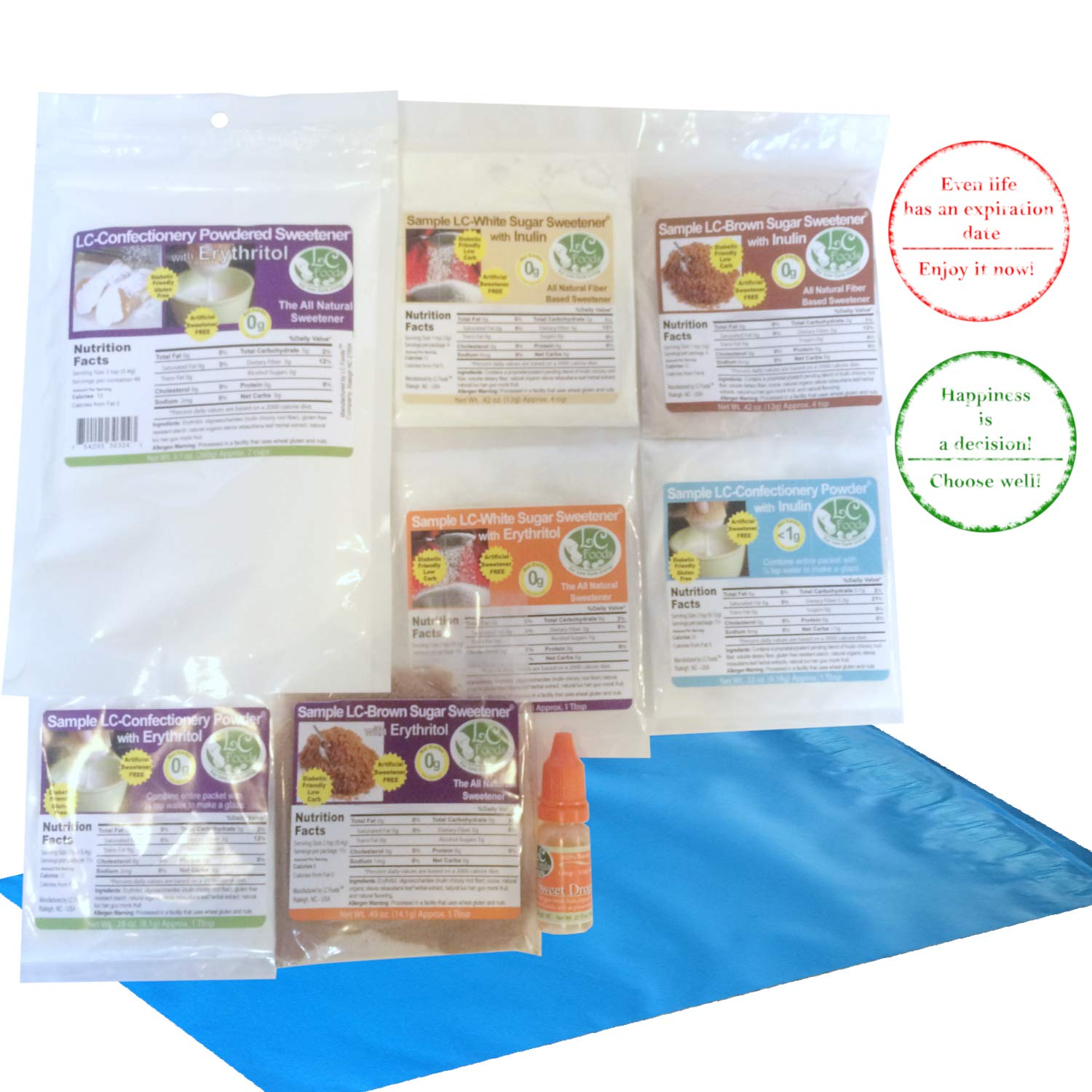 Keto Sugar Substitute, Confectionery Powdered Sweetener with Erythritol + Sweetener Blends Sampler by LC Foods, Low Carb Keto & Paleo Friendly