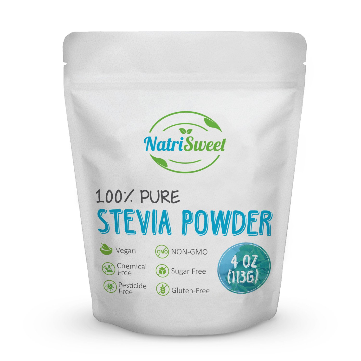 NatriSweet 100% Pure Stevia Powder 4 oz (113g) | Zero Calorie All Natural Sweetener | Sugar Substitute | No Carbohydrates | No Artificial Sweeteners | No Fillers or Binders | Vegan by NatriSweet