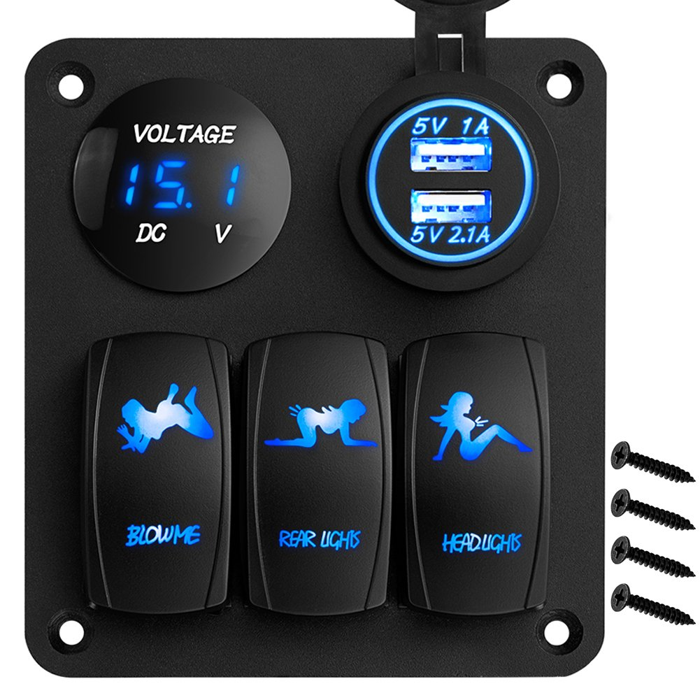 Led Switch Panel Autopowerplus 12 24v On Off Blue New Wire Marine Products Toggle Switches Access Spst Headlight Rear Light 31a Dual Usb Charger Digital Voltmeter Rocker