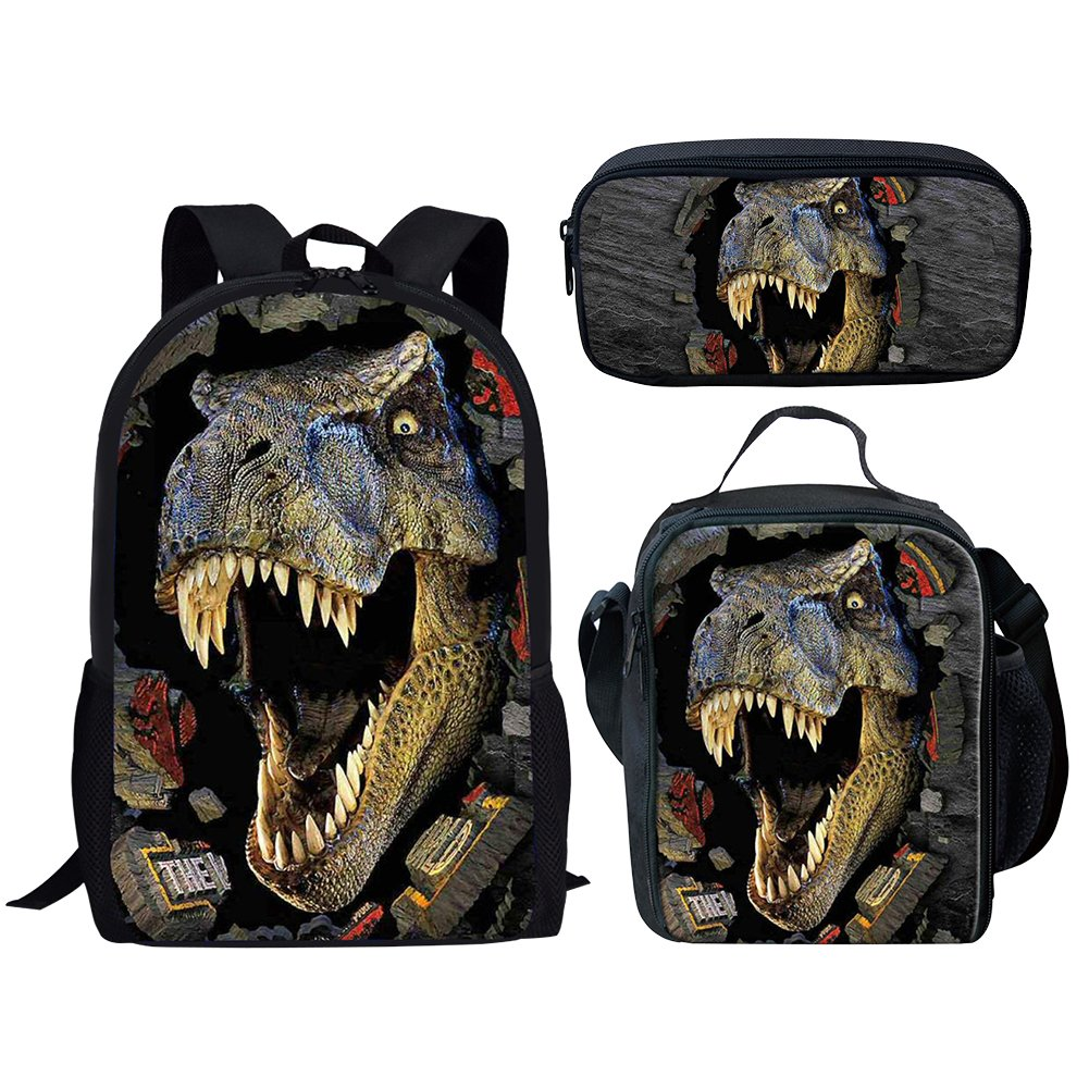 Middle School Student Backpack Lunch Bag Set Pen Bags For Boys Fashion  Durable Daypack Dinosaur Print 34f8ec1ce4