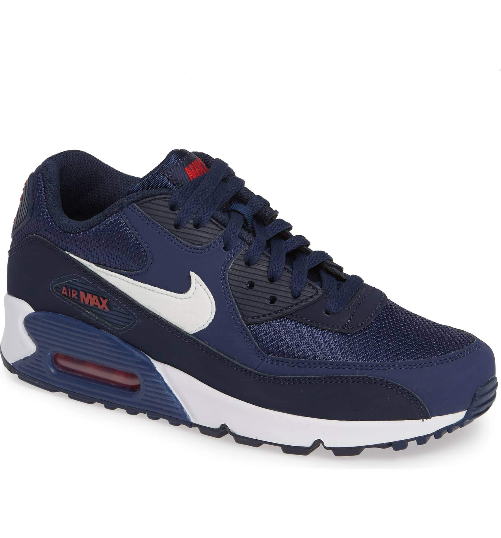 premium selection db48f faa12 Galleon - Nike Men s Air Max 90 Essential Shoe, Midnight  Navy White University Red, Size 7.5