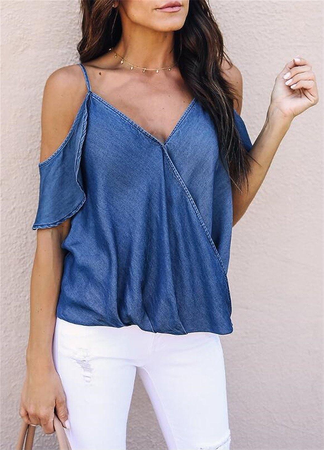 7cf36c1ac615e Amazon.com  Women V Neck Off Shoulder Denim Shirt Tops Sexy Spaghetti Strap  Ruffle Sleeves Blouse  Clothing