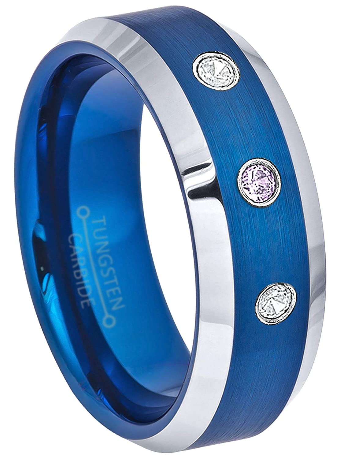 Comfort Fit Tungsten Carbide Ring Tungsten Wedding Ring February Birthstone Ring 0.21ctw Amethyst /& Diamond 3-Stone Anniversary Band 8mm Brushed Finish Blue Tungsten Ring