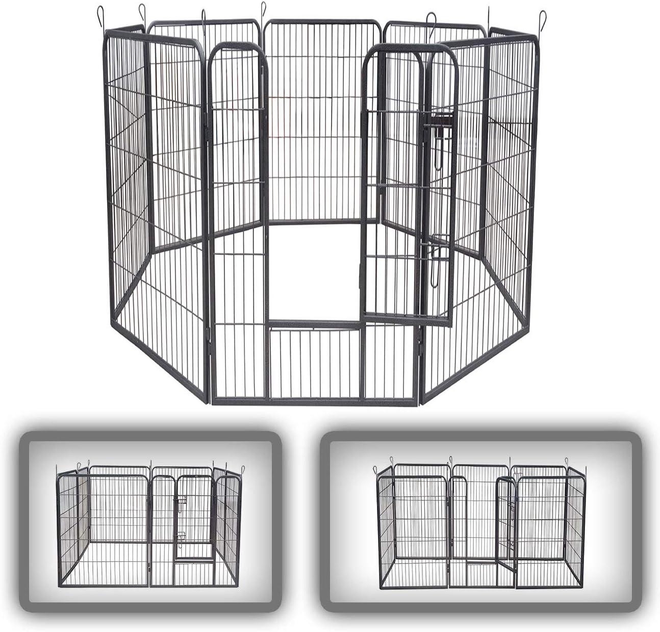 zoomundo Parque Perros Jaula Plegable Mascotas para Animales Entrenamiento Puerta Recinto Gatos 8 Vallas - XXL