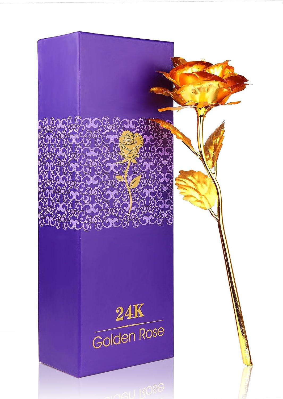 Rouge Plaqu/é Or 24 K Rose Fleur Rose Fleurs artificielles Rose avec bo/îte Cadeau pour la Saint-Valentin,f/ête des m/ères,Anniversaire,Mariage ACCEDE Rose Feuille dor 24K