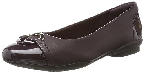 48cdfbeb0f4e06 Clarks Women s Neenah Vine Closed Toe Ballet Flats Purple Aubergine Lea ...