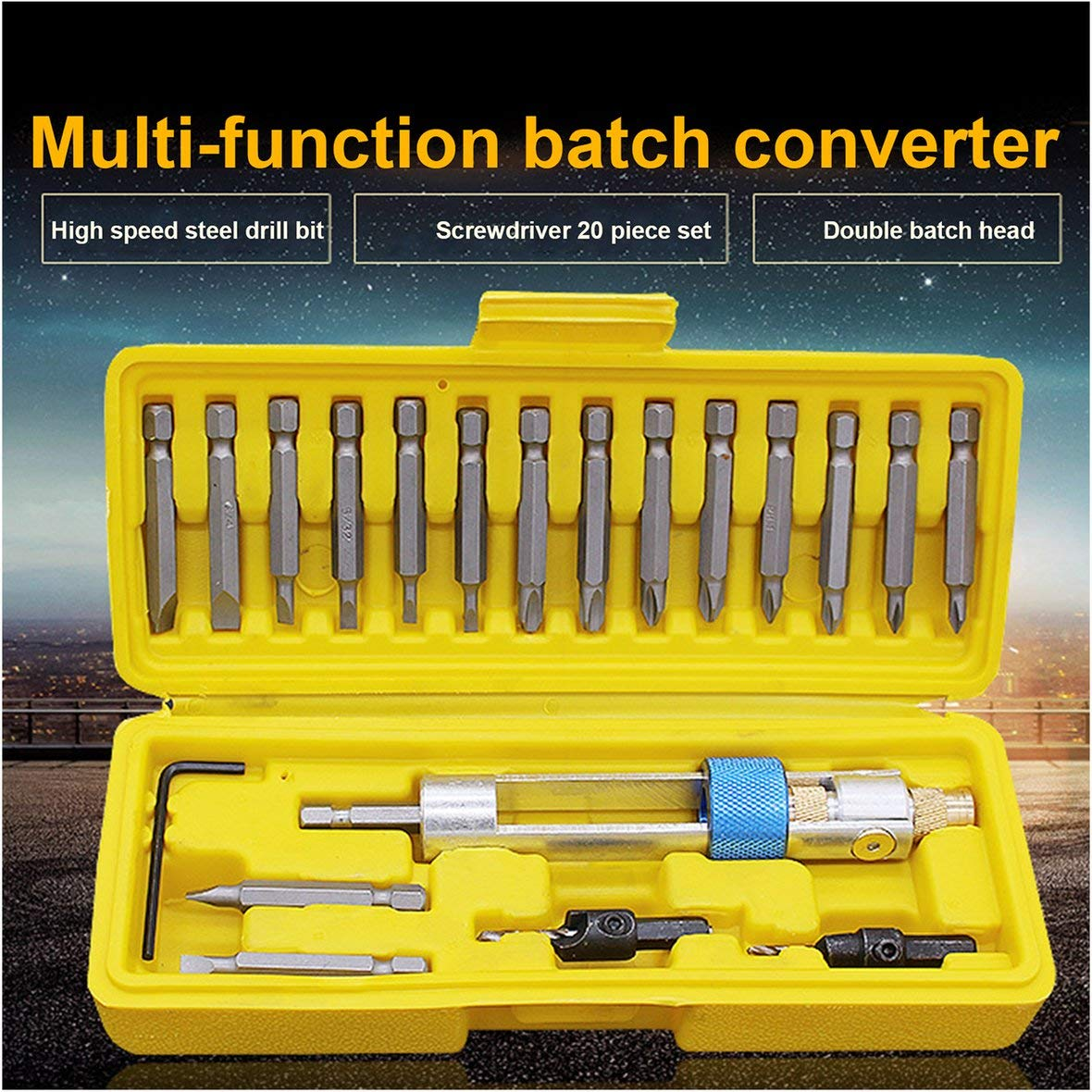 Metropoliten-US 20Pcs HSS Half Time Drill Driver Multi Screwdriver Sets with Countersink Bits Allen Wrench 16 Different Kinds Head