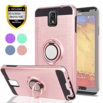 Note 3 Case,Galaxy Note 3 Case with HD Phone Screen Protector,Ymhxcy 360 Degree Rotating Ring & Bracket Dual Layer Resistant Back Cover for Galaxy ...