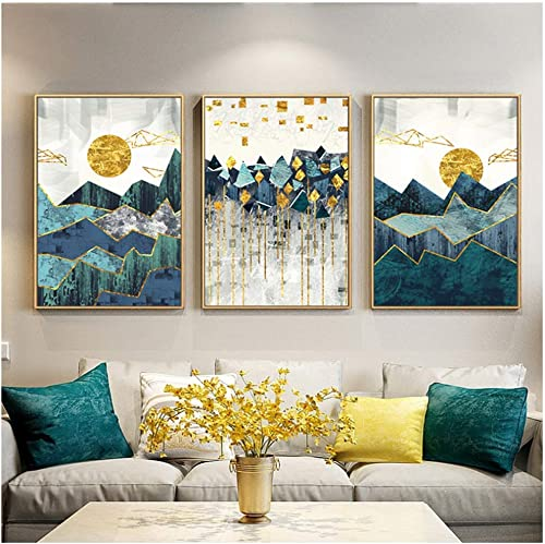 RUIQIN Nordic Abstract Geometric Mountain Landscape Wall Art Canvas Painting Golden Sun Art Poster Print Wall Picture 60x90cm