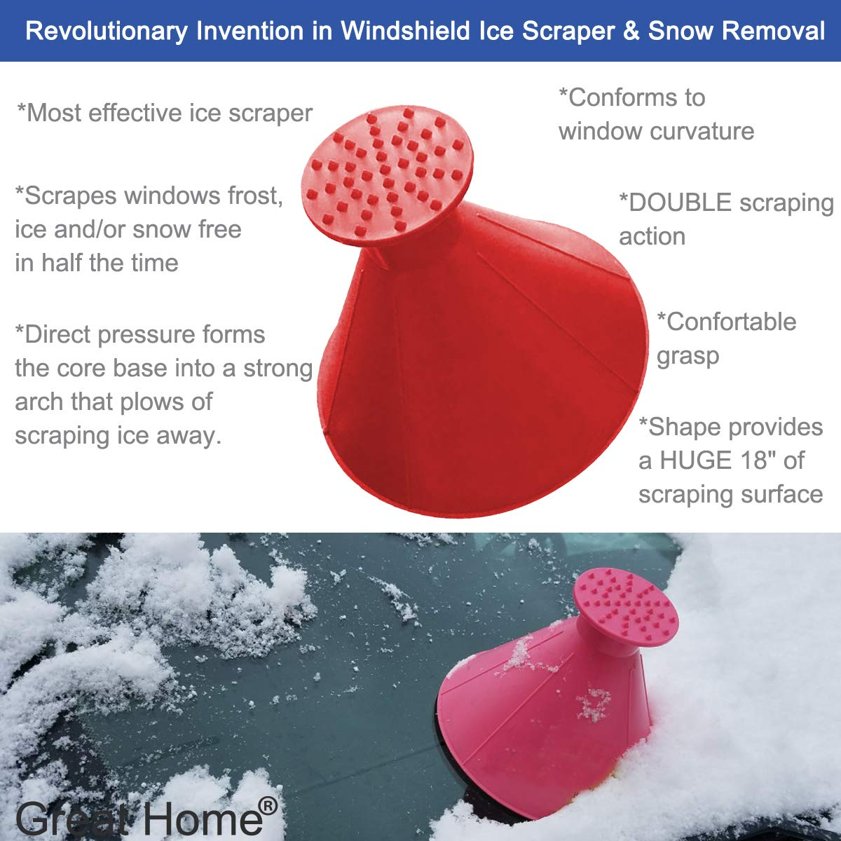 Blue Funnel Ice Scraper Cone Car Windshield Snow Scraper Shaped Windshield Snow Funnel Shovel Tool Will Scrape Pesky Frost and Ice from Windscreens and Side Windows with Ease