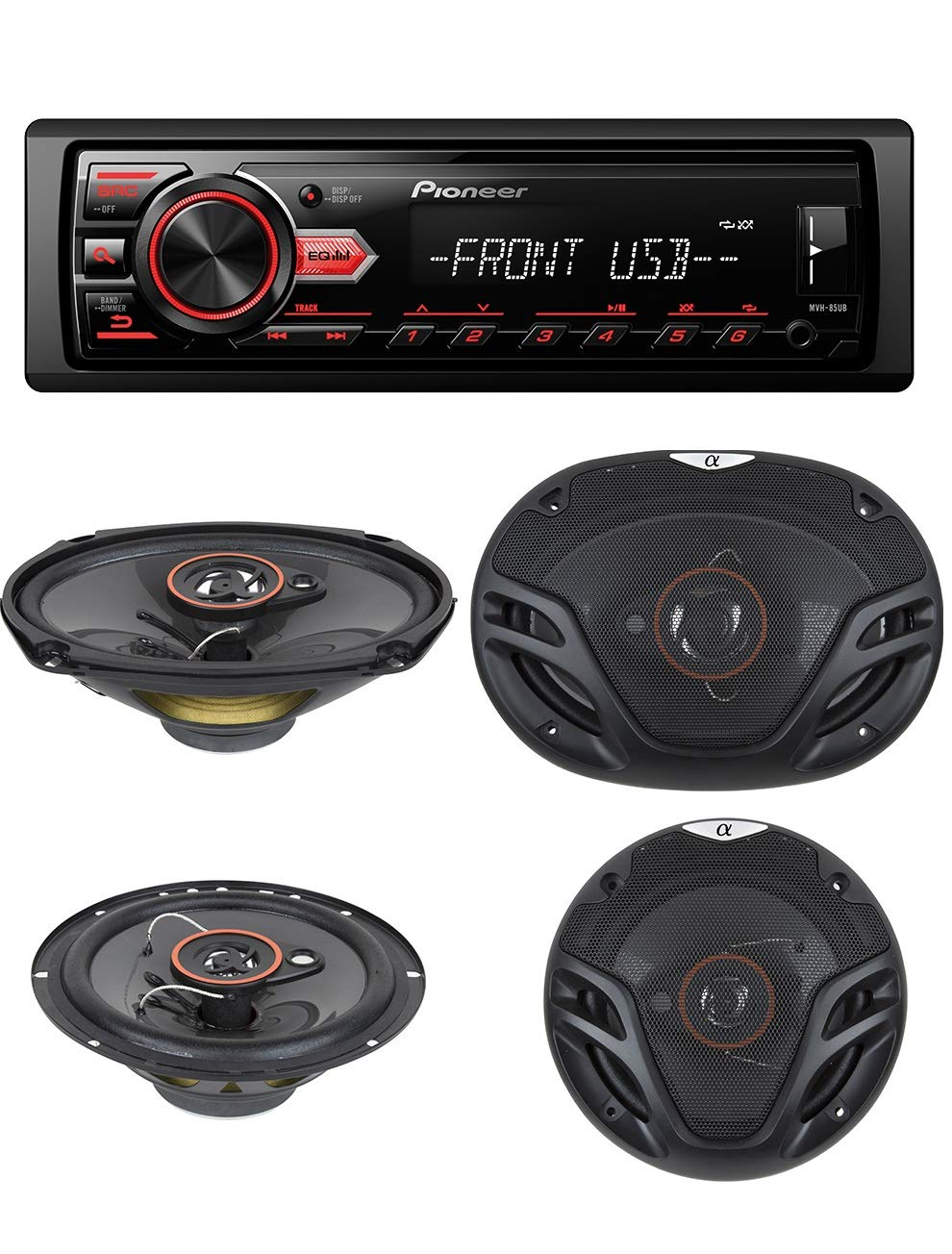 """Pioneer In-Dash Single DIN Digital Media Player Front USB Auxiliary MP3 AM//FM Radio Android phone app Control Car Stereo Receiver with pair of 6.5/"""" and pair of 6x9/"""" Speakers Pioneer Electronics USA Inc Advanced Remote Control"""