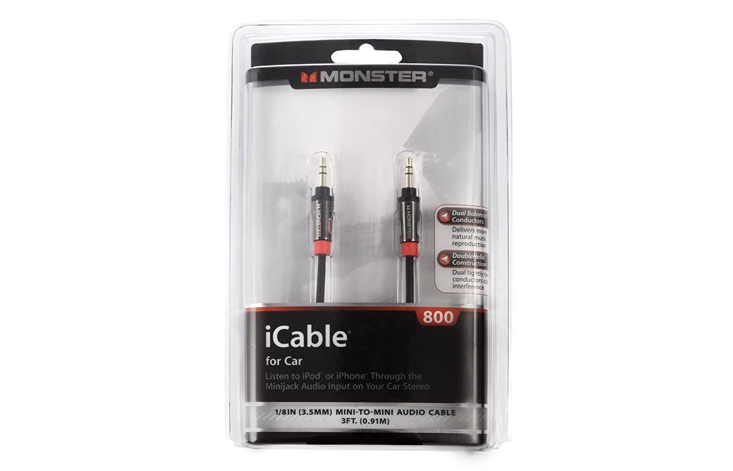 Monster Cable iCable 800 0.91m 3.5mm 3.5mm Negro Cable de Audio: Amazon.es: Electrónica
