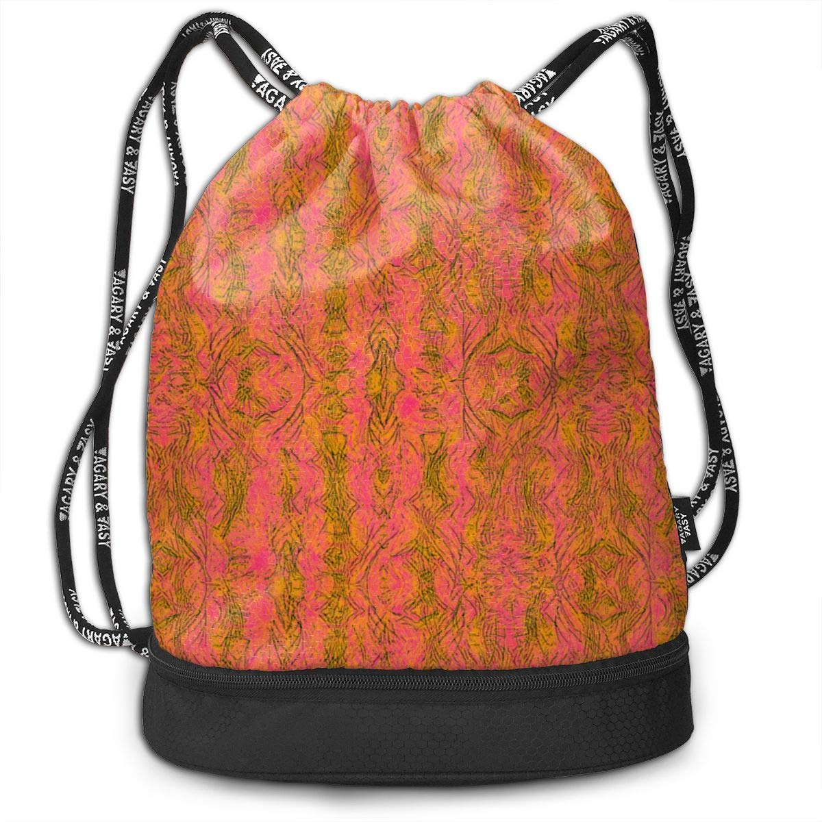 Neon Abstract Drawstring Backpack Sports Athletic Gym Cinch Sack String Storage Bags for Hiking Travel Beach