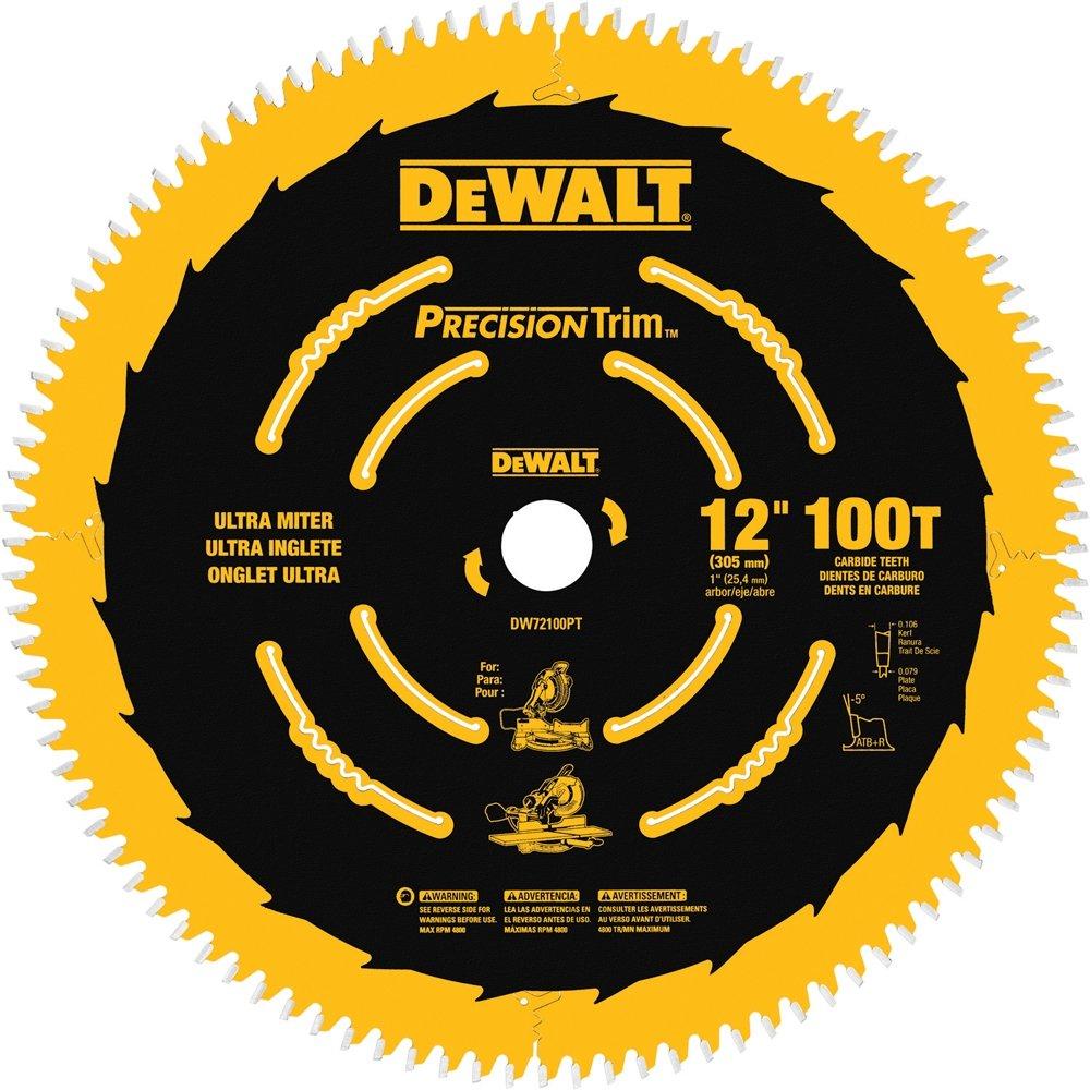 DEWALT DW72100PT 12-Inch 100T Ultra-Smooth Crosscutting Saw Blade