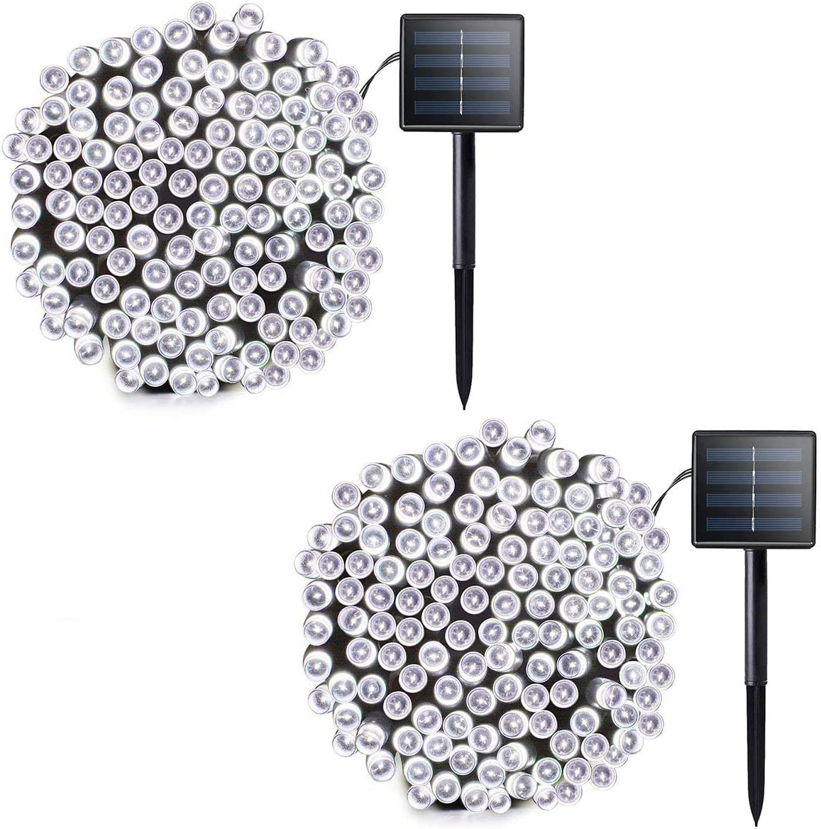 Outdoor Solar Christmas String Lights Ambiance Lighting 72ft 200 LED Waterproof Solar Fairy Mini String Lights Decoration for Patio, Gardens, Homes, Party, Wedding, Holiday(White-2 Pack 400LED)