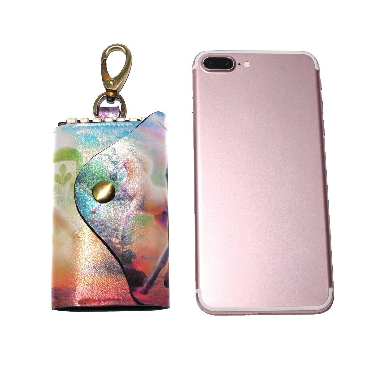 DEYYA Fox Leather Key Case Wallets Unisex Keychain Key Holder with 6 Hooks Snap Closure