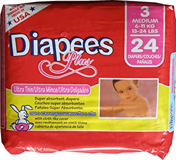 Diapees Plus Baby Diapers- Medium Case Pack 8