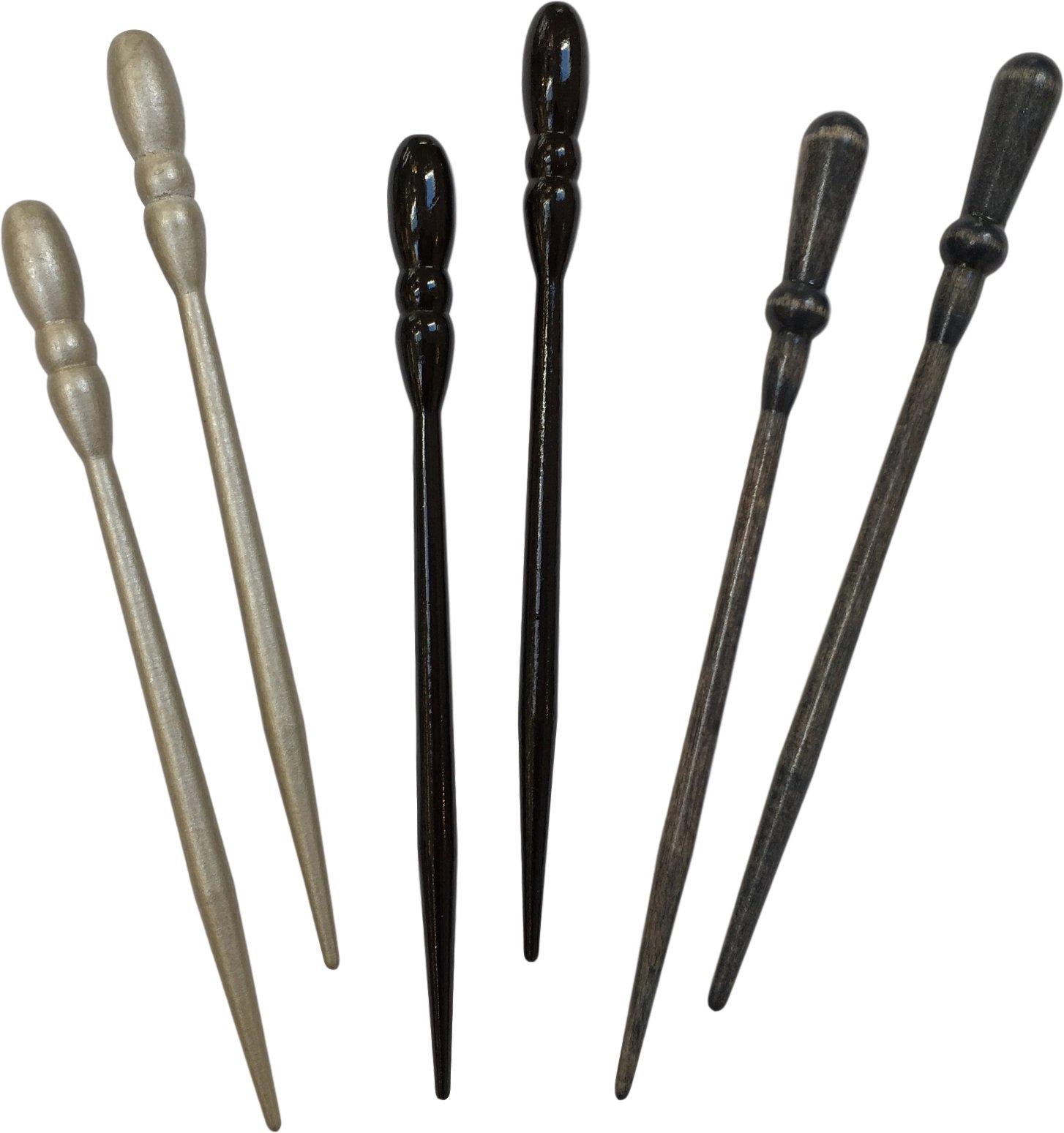 3 Pairs of Shaune Bazner ALLWOOD Hair Sticks (Silver/Black Onyx Glossy/Lapis) by Shaune Bazner