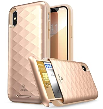 separation shoes 9fc59 2b9d6 Clayco iPhone X Case, [Argos Series] Premium Hybrid Protective Wallet Case  for Apple iPhone X (Built-in Credit Card/ID Card Slot) (BlushGold)