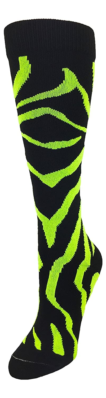 TCK Krazisox ゼブラストライプソックス B01ATNONCI Small|Black/Electric Green Black/Electric Green Small
