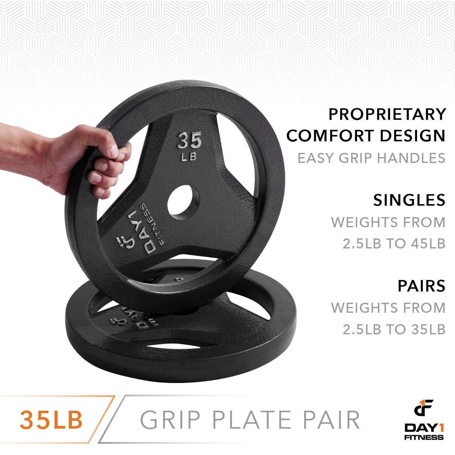 """Day 1 Fitness Cast Iron Olympic 2-Inch Grip Plate for Barbell, 35 Pound Set of 2 Plates Iron Grip Plates for Weightlifting, Crossfit - 2"""" Weight Plate for Bodybuilding by Day 1 Fitness (Image #5)"""