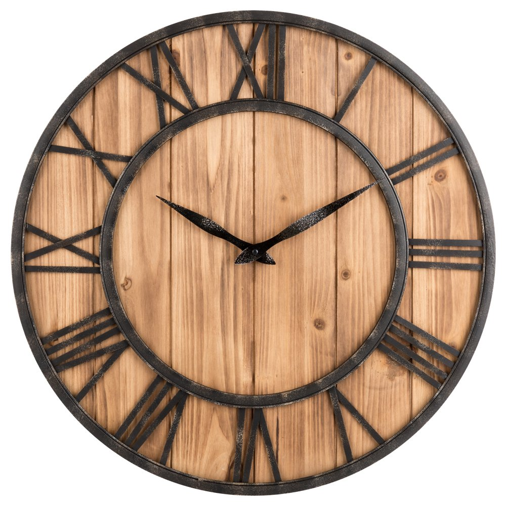 OLDTOWN Farmhouse Rustic Barn Vintage Bronze Metal & Solid Wood Noiseless Big Oversized Wall Clock (X-Large 24-inch) by Oldtown Clocks
