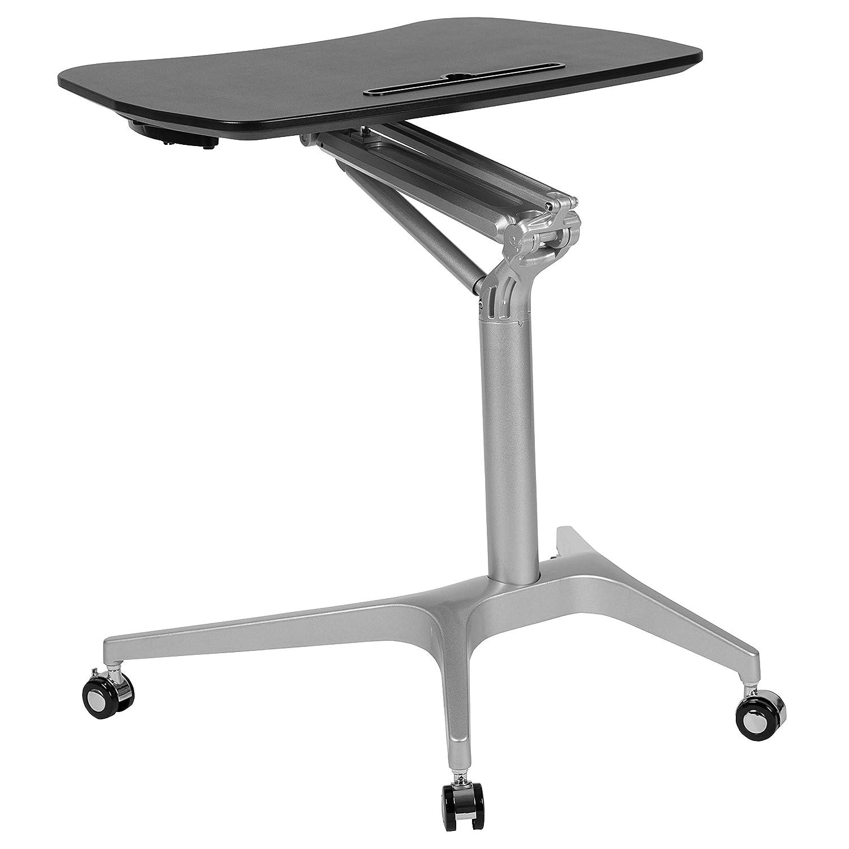 "Flash Furniture Mobile Sit-Down, Stand-Up Black Computer Ergonomic Desk with 28.25""W Top (Adjustable Range 29"" - 41"") - NAN-IP-10-BK-GG"