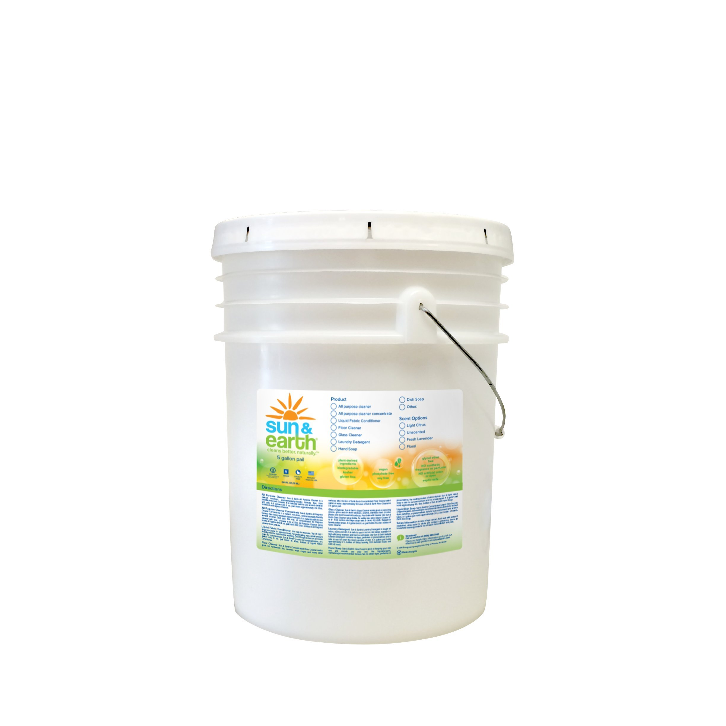 Sun & Earth Natural All- purpose Cleaner, Light Citrus 640 fl. Oz (Concentrated, 5 Gallon Pail) (PACK OF 1)