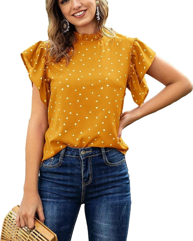 Lilosy Women Casual Ruffle Short Sleeve Work Blouse Elegant Office Top