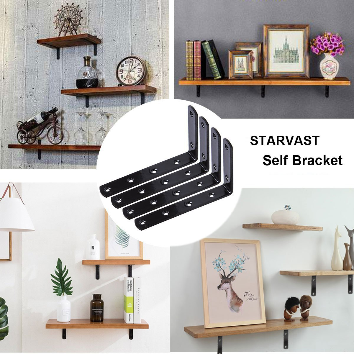 8 Pcs Shelf Brackets Black Stainless Steel L Shaped Corner Bracket 3mm Thick Heavy Duty Joint Right Angle Bracket Support Wall Hanging By STARVAST (Come with Screws) by STARVAST (Image #5)