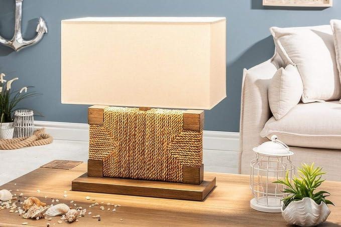 Lámpara de mesa hecha a mano con cuerda de madera, 46 cm de alto, diseño acogedor, lámpara de mesa, mesita de noche, salón: Amazon.es: Iluminación