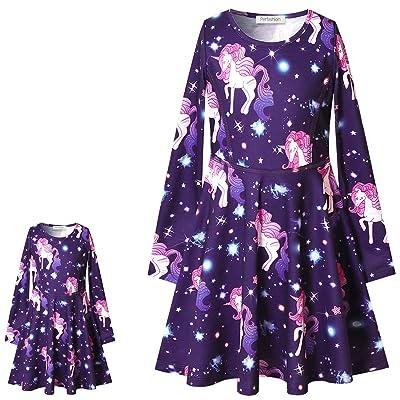 Perfashion Unicorn Dress Matching Girls&Dolls Sleeveless Party Summer Outfits: Clothing