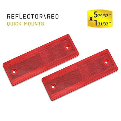 MFC PRO Stick-On Trailer Reflector, Reflective Red (Red, Sticker/Screw Mount): Automotive