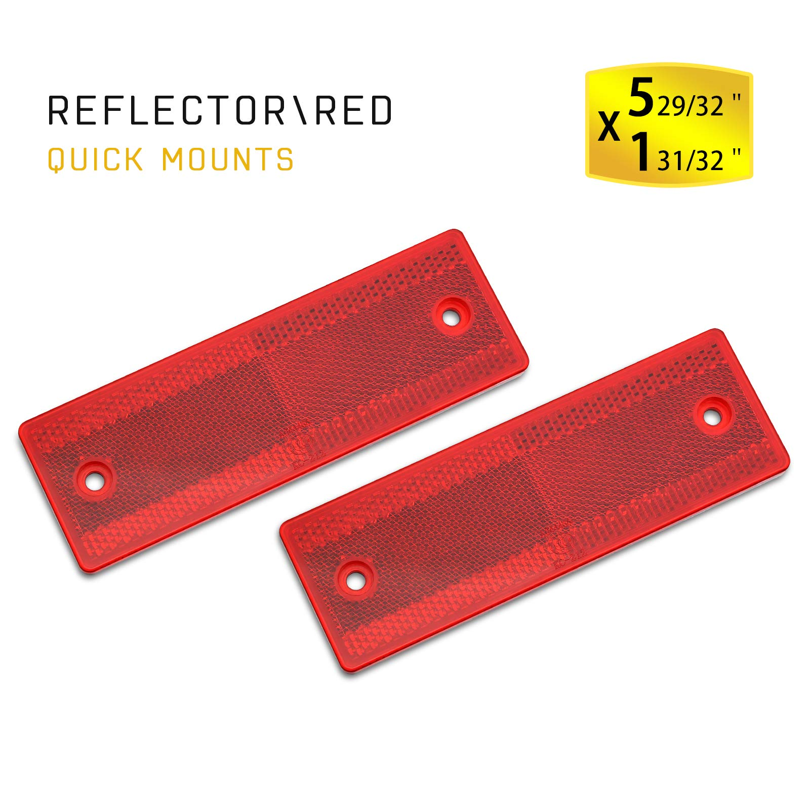 MFC PRO Stick-On Trailer Reflector, Reflective Red(Red/12Pcs, Sticker/Screw Mount)