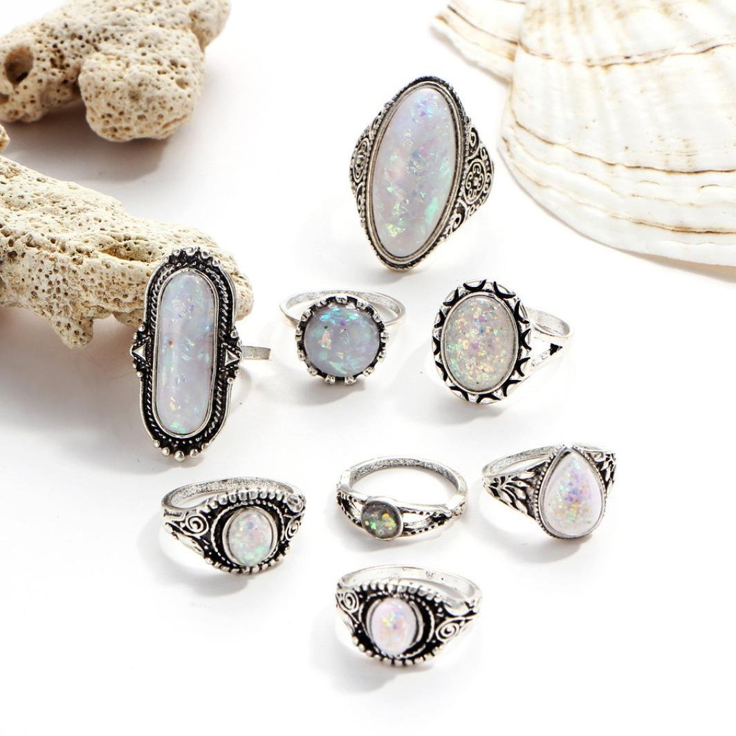 SMALLE◕‿◕ Clearance,8PC Boho Jewelry Silver Natural Gemstone Marquise Moonstone Personalized Ring by SMALLE◕‿◕ (Image #5)