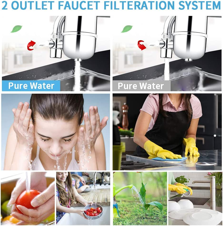 Home Kitchen Healthy Drinking Water Filter Kowela Faucet Water Filter with 8 Layer Purification Fluoride Tap Water Purifier with Ceramics Helps to Remove Heavy Metals Suitable for Most Taps