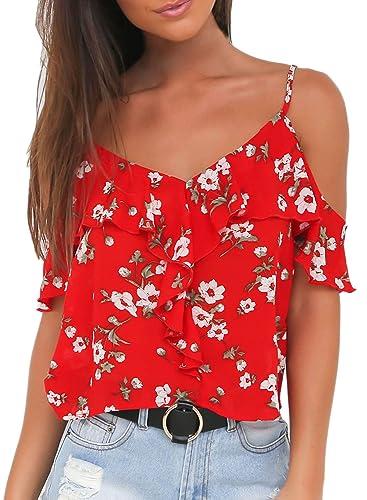 Azbro Mujer Blusa Estampado Floral Volantes Fuera de Hombro
