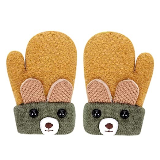 e622bac19 Image Unavailable. Image not available for. Color: Kids Knitted Mittens  Winter Warm Gloves with String for Baby Toddlers Boys Girls