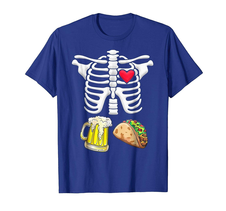Tacos and Beer Pregnant Skeleton Halloween shirt-Awarplus