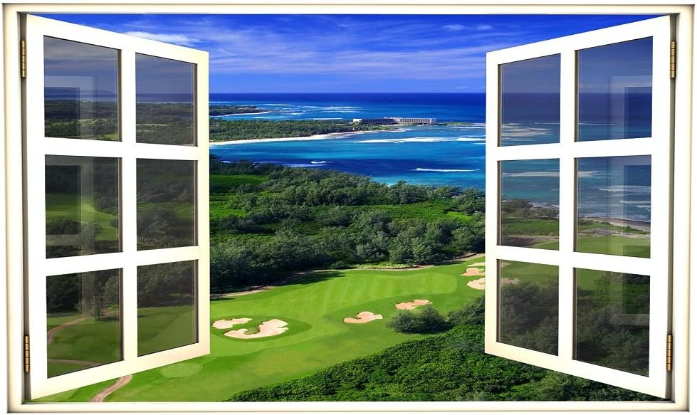 Amazon Com 24 Window Scape Instant View Golf Course Ocean 1 Wall Decal Graphic Sticker Mural Home Kids Game Room Office Art Decor Home Kitchen