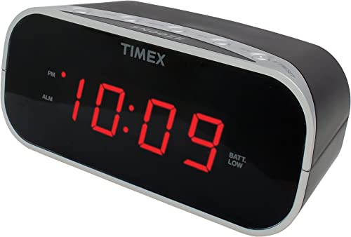 Timex T121B Alarm Clock with 0.7-Inch Red Display Black
