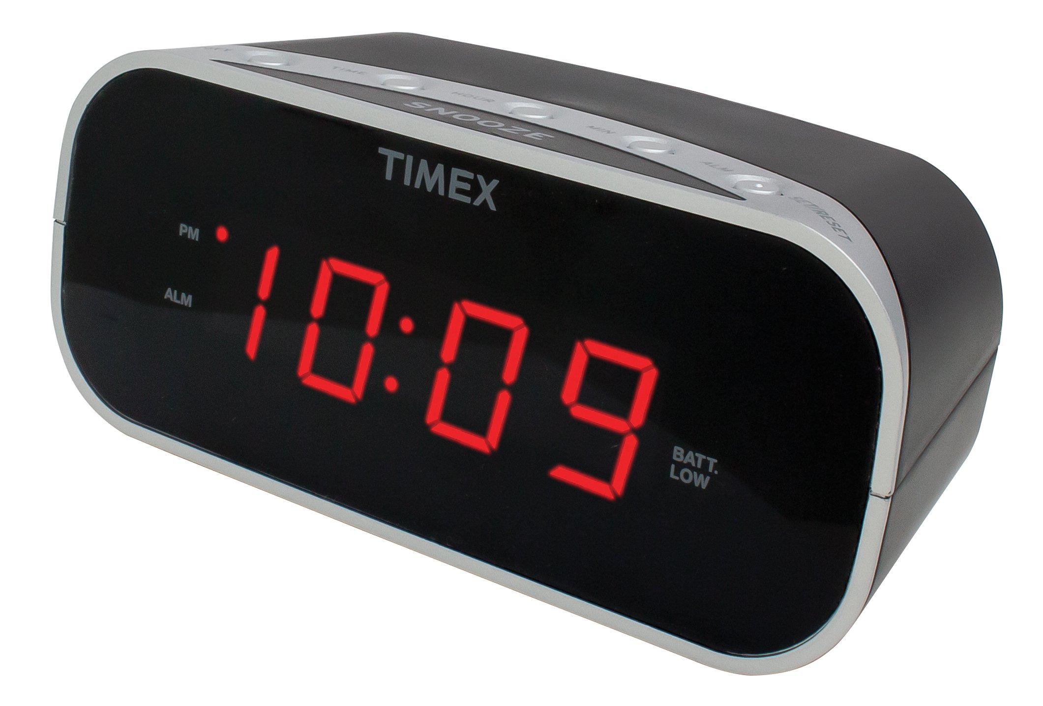 Timex T121B Alarm Clock with 0.7-Inch Red Display (Black) by Timex