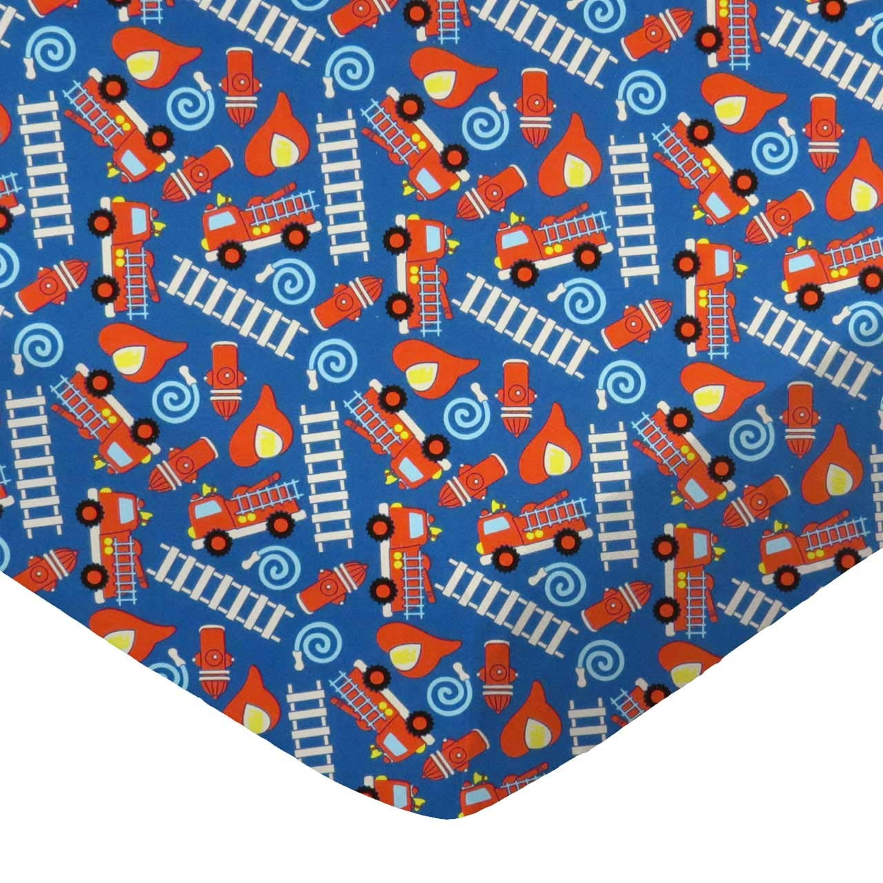 SheetWorld Fitted 100% Cotton Percale Play Yard Sheet Fits BabyBjorn Travel Crib Light 24 x 42, Fire Trucks Blue, Made in USA